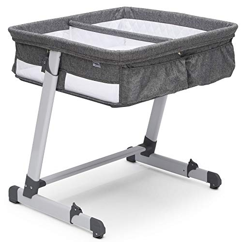 Simmons Kids By The Bed City Sleeper Bassinet for Twins - Adjustable Height Portable Crib with Wheels & Airflow Mesh, Grey Tweed