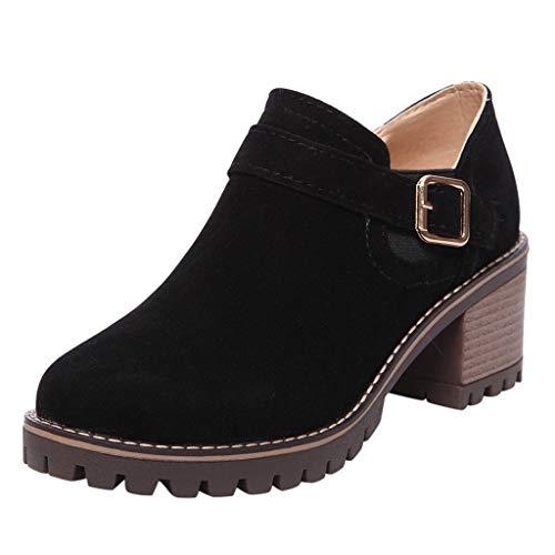 Botines Mujer Otoño Invierno Clásicas Botas Calientes de Cremallera Lateral Zapatos de Tacón de 6 cm Botines Mujer Tacon Medio Botines de Fiesta Mujer con Hebilla Antideslizante Comodos Negro