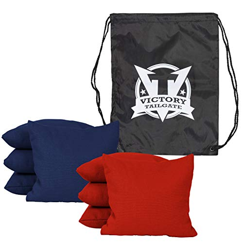 Victory Tailgate 8 Colored Corn Filled Regulation Cornhole Bags with Drawstring Pack (4 Red, 4 Navy Blue)