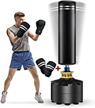 Twomaples Freestanding Punching Bag, 69'' Heavy Bag with Suction Cup Base 182 lb Stand Kickboxing Bags for Adult Youth - Heavy Punching Bag with Stand Kick Punch Bag (Punching Bag with Gloves)