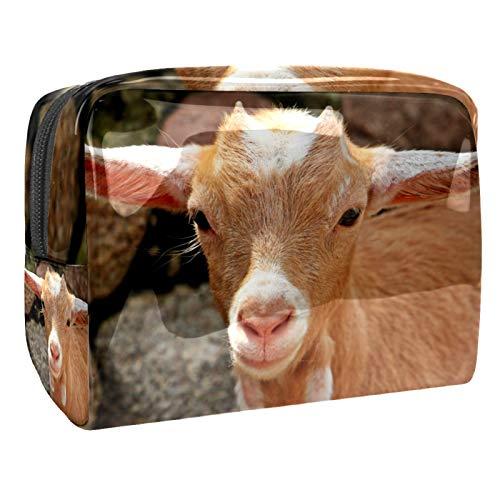 Bolso Cosmético Animal Oveja marrón Bolso de Maquillaje Bolsa de Almacenamiento portátil Estuche de Maquillaje con asa Makeup Toiletry Bag 18.5x7.5x13cm