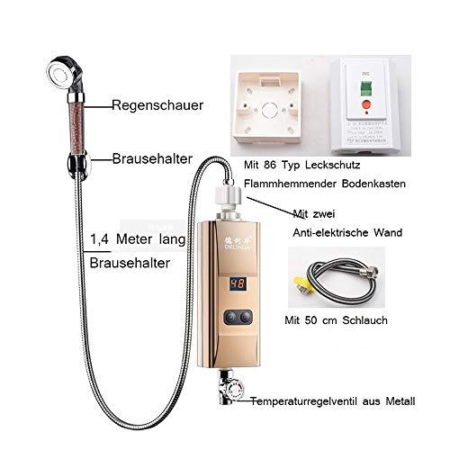 JIAJU Mini Tankless Elektrischer Durchlauferhitzer,Sofortiger Water Heater für Badezimmer + Elektrisch Duschkopf, Elektronisch Tragbarer Durchlauferhitzer für den Außenbereich