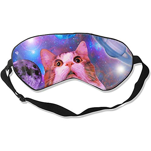 Kitty Slaapmasker, lichte kat in space, comfortabel strikken voor thuis of op kantoor, hotel