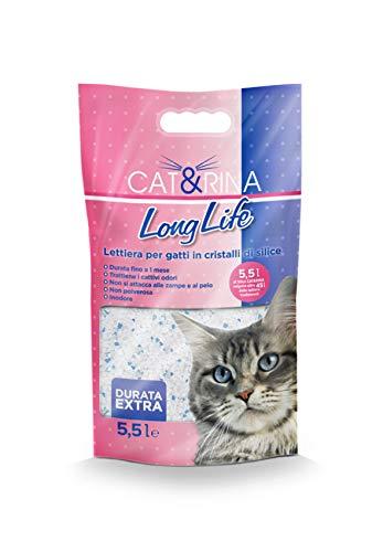 Cat&Rina Long Life Lettiera per Gatti ai Cristalli di Silicio Anallergica e Batteriostatica, Confezione da 5.5 L
