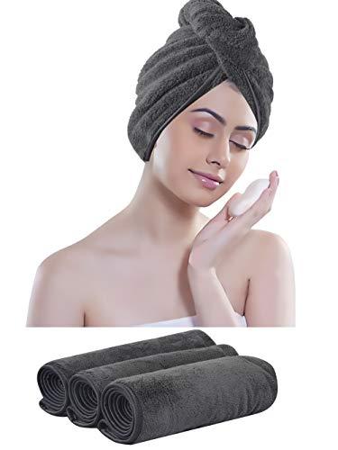 KinHwa Mikrofaser Turban Handtuch für Haare Saugfähigen Kopfhandtuch Groß Super weich für Frau 3 Stück Dunkelgrau