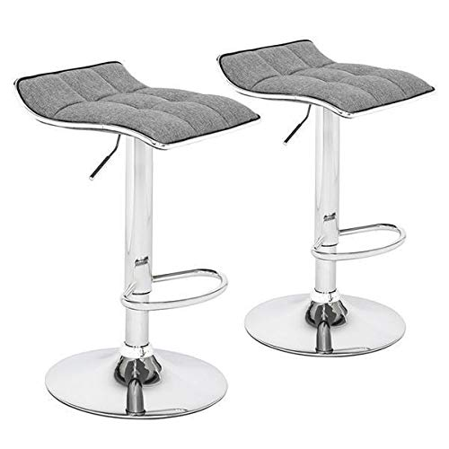 WJAROG Adjustable Lifting Bar Chair 2 Soft-Packed Square Board Curved Foot Bar Stools Cotton and Linen Fabric Dark Gray