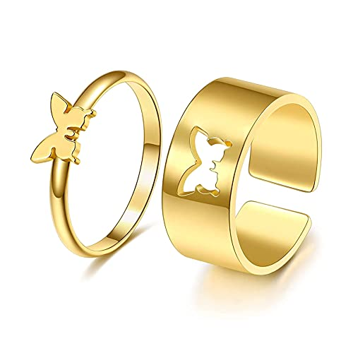 Anillos de pareja de mariposas, anillos de boda, anillos de compromiso, anillos de amistad, anillos abiertos, anillos de compromiso