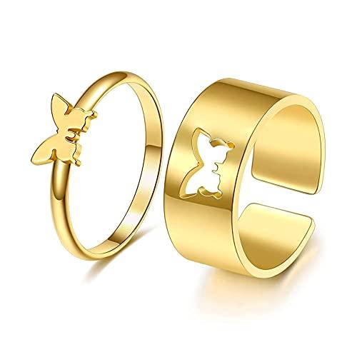 Anillos de pareja de mariposas, anillos de boda, anillos de compromiso, anillos...