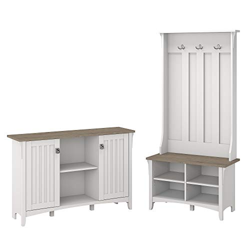 Bush Furniture Salinas Entryway Storage Set with Hall Tree, Shoe Bench and Accent Cabinet in Pure White and Shiplap Gray