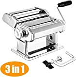 Pasta Maker Noodle Machine Cutter 304 Stainless Steel Manually Pasta Roller Machine Cutter for Fresh Spaghetti and Lasagna Tagliatelle Fettuccine