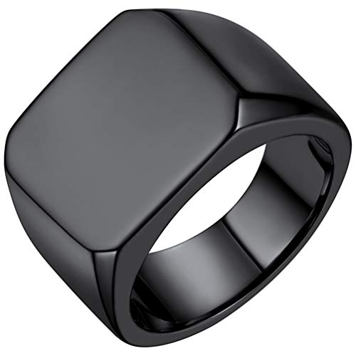 PROSTEEL Black Steel Rings for Men Size O Biker Rings for Eboy