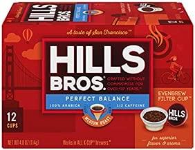 Hills Bros Single Serve Coffee Pods, Perfect Balance, Medium Roast Coffee, 12 Count–Keurig Compatible, Roasted 100% Premium Arabica Coffee Beans, Less Caffeine, Full-Body Flavor
