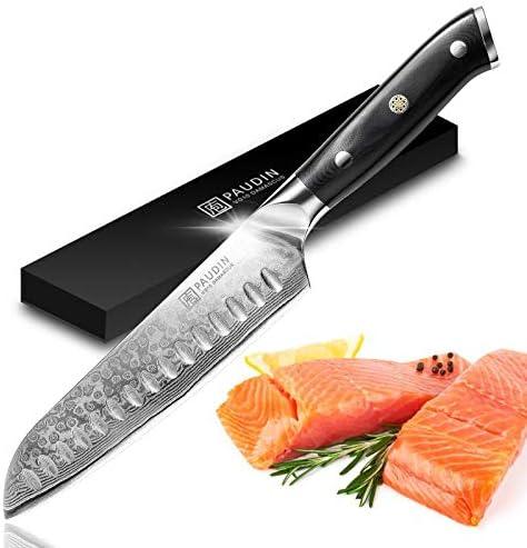 Paudin Stainless Steel Santoku Knife Damascus 7 inch Kitchen Knife Ultra Sharp Japanese Santoku product image