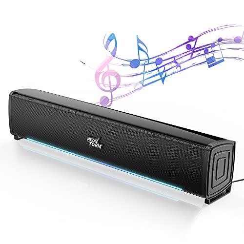 REDSTORM Altavoces PC, [Regalos Navidad] Mini Barra de Sonido TV USB Lineales...