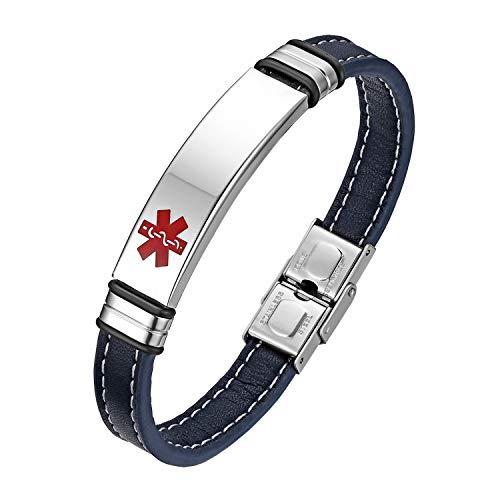 Flongo Pulsera de identificación médica Cruz Roja, Placa Personalizada de Acero Inoxidable Brazalete Alerta médica para alergias, Hombre Pulsera de Cuero Azul