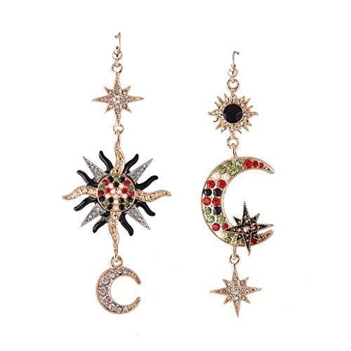 WOWOWO Pendientes de Lujo Sun Moon Pendientes Colgantes de Cristal no coincidentes para Mujer Joyería asimétrica
