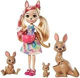 Enchantimals Savane Ensoleillée coffret Famille avec mini-poupée Kamilla Kangourou, 3figurines animales et accessoires surprises, jouet pour enfant, GTM31