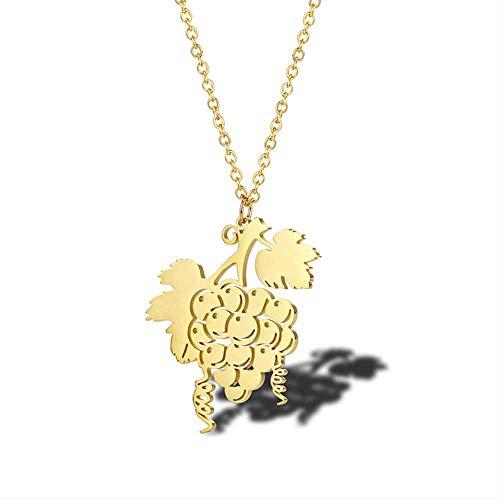 VAWAA Edelstahl Gold Trauben Halskette Feinschmecker Epicurean Schmuck Weintraube Cluster Halskette Beste Wein Enthusiasten Schmuck