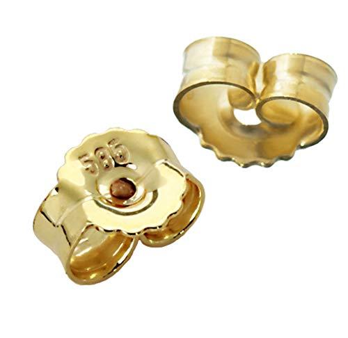 1Paar 585 Gelbgold 14 Karat Gold 7mm Gegenstecker für Ohrstecker Ohrringe Ohrstopper Pousetten Ohrmutter Butterfly Schmetterling Verschluss 2085