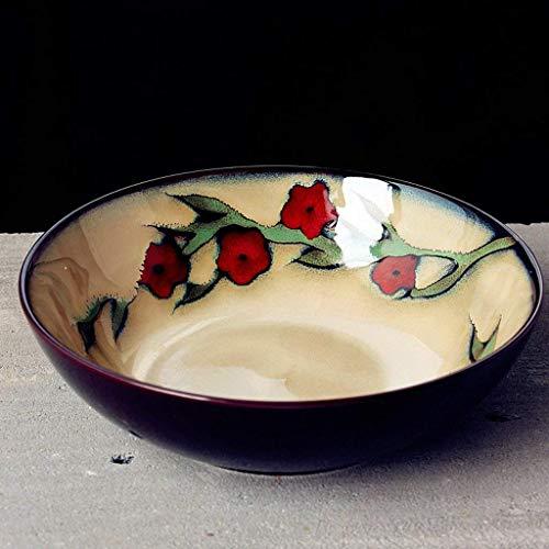 DJY-JY Cuenco de cerámica japonesa de 800 ml para sopa de ramen, pintado a mano, plato de frutas retro