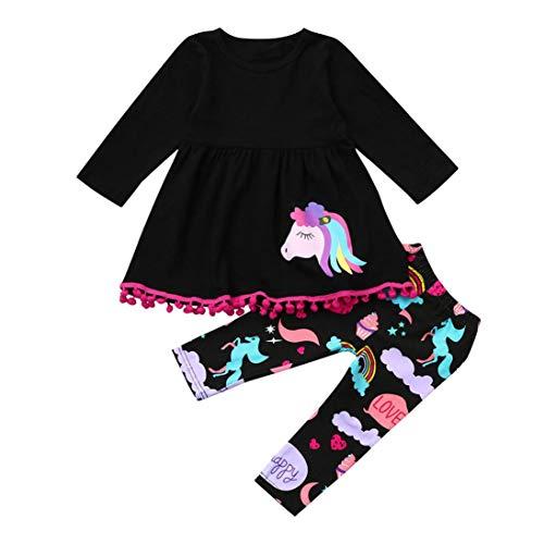 K-youth Ropa Bebe Niña Otoño Invierno Infantil Recien Nacido Vestidos Bebé Niña Vestido Niña Unicornio Impresión Manga Larga Ropa Niña + Pantalones Trajes Conjuntos(Negro, 12-18 Meses)