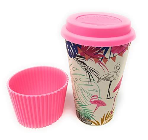 Kucly Tazas de Café para Llevar con Tapa Térmica y Diseños Bonitos/Reutilizable/Eco-Friendly (Bambú) / Manga Antideslizante (Flamenco)