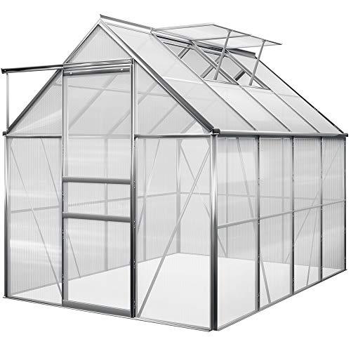 Deuba Gardebruk Invernadero de Aluminio de 7,63m³ con Ventanas Puerta para el jardín huerto de Frutas y Verduras vivero Exterior