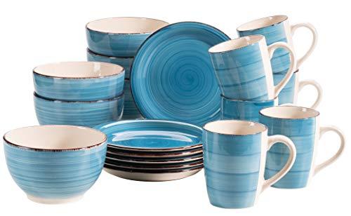MÄSER Bel Tempo II Vajilla de 18 piezas para 6 personas, diseño vintage, color azul oscuro, gres