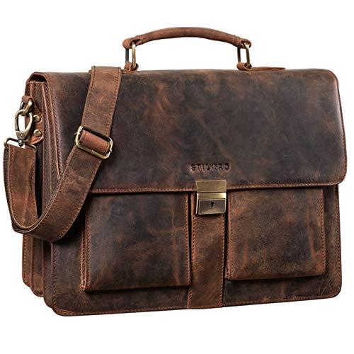 STILORD \'Eros\' Aktentasche Leder 15,6 Zoll Laptoptasche Business Umhängetasche Große Arbeitstasche XL Vintage Ledertasche mit Dreifachtrenner, Farbe:Sepia - braun