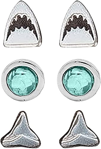 Pendientes De Tiburón, Pendientes De Mordedura De Tiburón, Juego De Aretes De Tiburón Con Diamante Azul De Tiburón, Pendientes De Metal Redondos