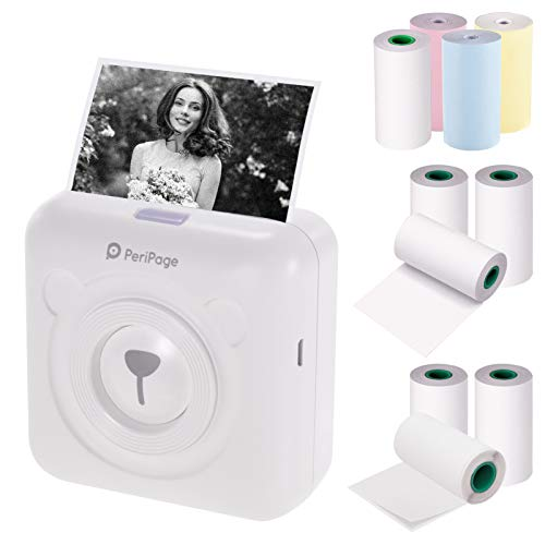 Aibecy PeriPage Mini Handydrucker Wireless Thermodrucker Bildetikett Memo Fotodrucker + 3 Rollen Farbthermopapier + 3 Rollen weißes Aufkleberpapier + 3 Rollen weißes Thermopapier ohne Klebstoff