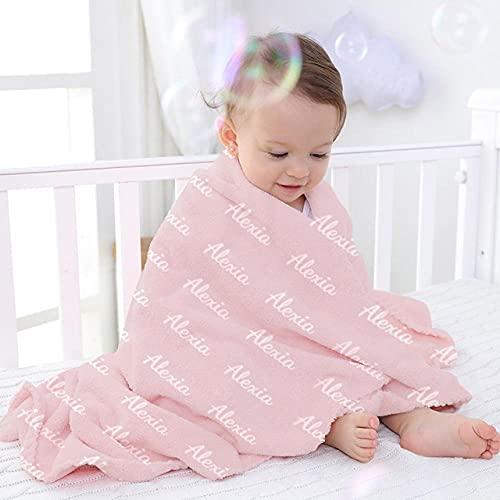 EKMON Couvertures personnalisées pour bébé avec nom pour garçons et Filles, Couverture personnalisée pour Nouveau-nés et Enfants,Couverture pour bébé Douce et Douillette,80*120CM