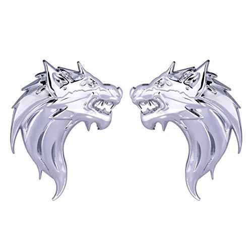LIOOBO 1 Para Auto emblem Aufkleber 3D Metall Wolf Abzeichen Aufkleber Aufkleber Metall Auto Lkw Motorrad Emblem Aufkleber Dekoration (Silber)