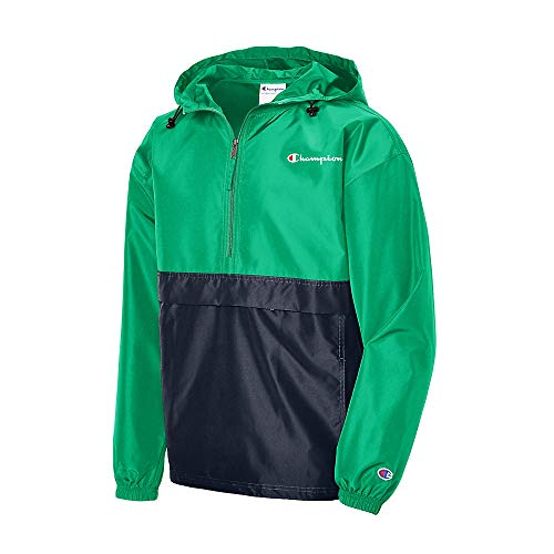 Champion Men's Colorblocked Packable Jacket, Green Myth/Navy 549369, Small