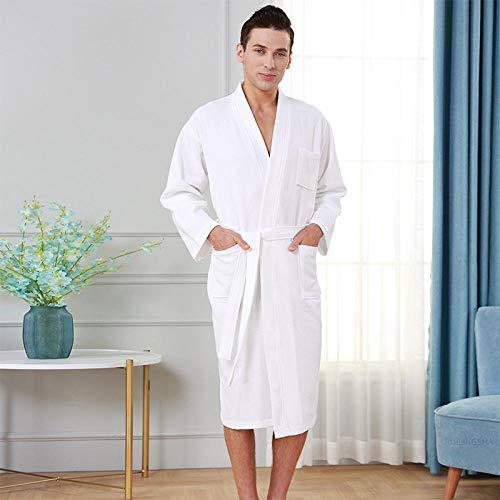 N/A Rote Badetücher, Männer und Frauen Herbst und Winter verdickte Lange Baumwollhandtuch Bademäntel, Paare saugfähige Bademäntel-weiß männlich dünn und lang (110-160 kg, 160-175 cm)