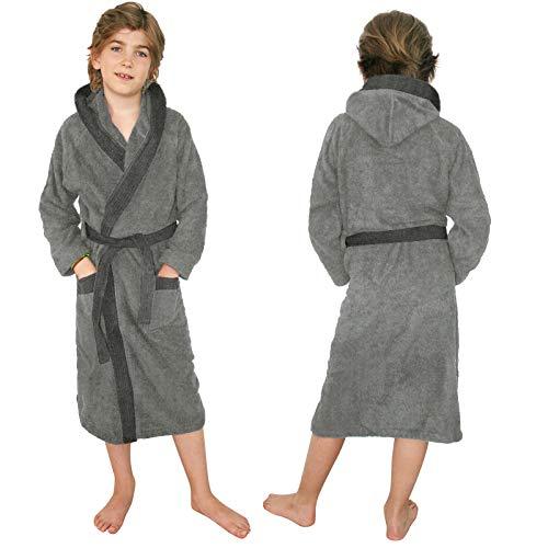 HOMELEVEL Kinder Frottee Bademantel aus 100% Baumwolle für Mädchen und Jungen (128, Hellgrau/Anthrazit)