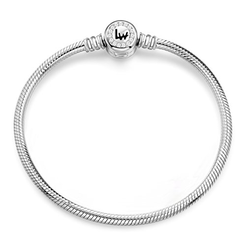 Long Way 925 Sterling Silver Snake Chain Bracelet Cubic Zirconia Basic Charm Bracelets for Women (Silver 7.1inches)