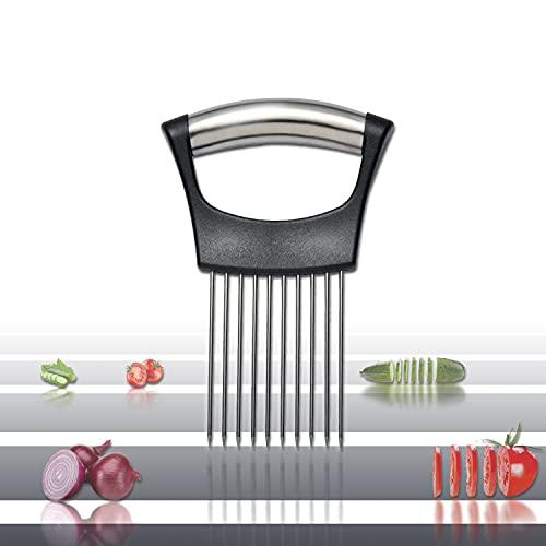 Vegetable Holder Chopper - Onion Tomato Potato Fruit Slicer Dicer Cutter - Food Salad Chopper Storage - Stainless Steel Holder for Slicing