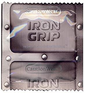 Caution Wear Iron Grip with Brass Lunamax Pocket Case, Snugger Fitting Lubricated Latex Condoms-24 Count