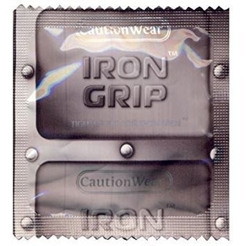 Caution Wear Iron Grip with Silver Lunamax Pocket Case, Tight Fitting Lubricated Latex Condoms-24 Count