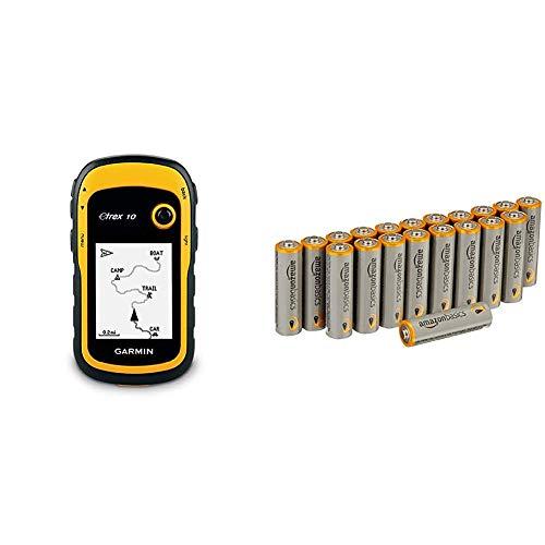 Garmin - 010-00970-00 - eTrex 10 GPS portable de randonnée - Fond cartographique mondial - Jaune/Noir & AmazonBasics Lot de 20 piles alcalines Type AA 1,5 V 2875 mAh (design variable)