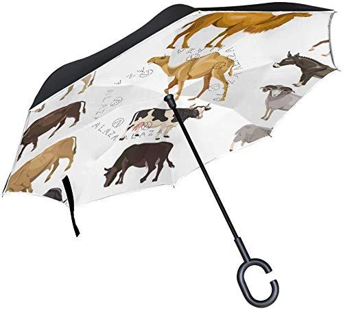 Niedlicher Tier-Emoji-Regenschirm mit C-förmigem Griff für Autos, Damen, Herren