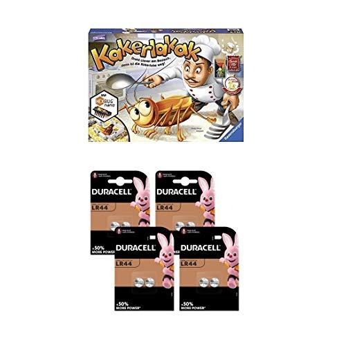 Ravensburger 22212 4 Kakerlakak Brettspiel + Duracell Specialty LR44 Alkali-Knopfzelle 1,5V, 8er-Packung (76A/A76/V13GA) entwickelt für die Verwendung in Spielsachen, Taschenrechnern und Messgeräten