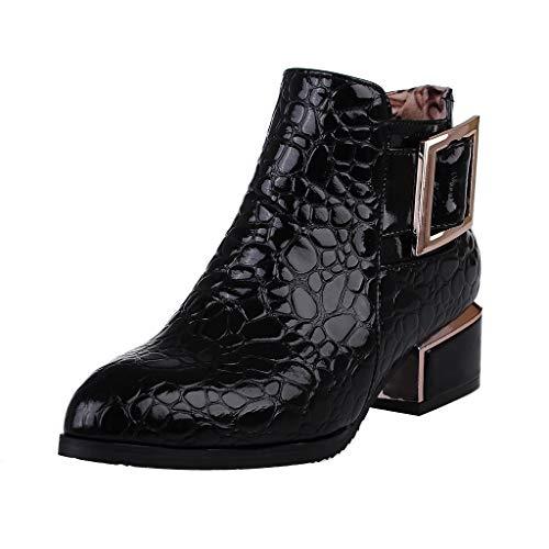 ZODOF Botas Mujer Dedo del pie Puntiagudo Botas Cortas Plataforma Lateral con Cremallera Gruesa con Botines Zapatos Vestir Mujer(37 EU,Negro)