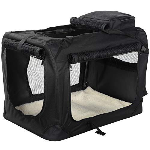 MOOL Niche de Transport en Tissu ultraléger avec Matelas en Polaire et Sac à Nourriture pour Animaux domestiques Noir Taille L 70 x 52 x 52 cm