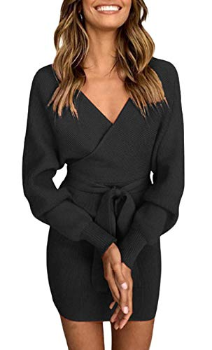 ZIYYOOHY Damen Elegant Strickkleid Pulloverkleid Tunika Kleid V-Ausschnitt Langarm Minikleid Mit Gürtel(251-BKXL