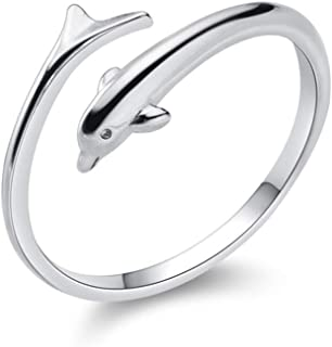 Little Dolphin Sterling Silver Statement Open Rings for Women Girls Cute Animal Cuff Climber Tail Finger Band Promise Enga...