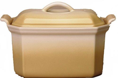 LE CREUSET Steinzeug Pastetenform für Foie Gras mit Presse 0,6l beige 91008406684000