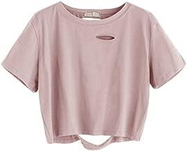 SweatyRocks Women's Summer Short Sleeve Tee Distressed Ripped Crop T-shirt Tops Pink S