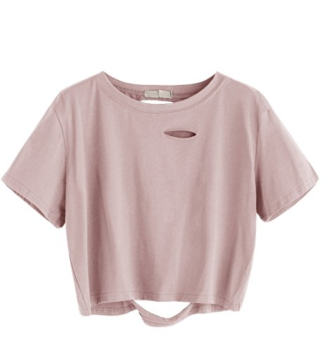 SweatyRocks Women's Summer Short Sleeve Tee Distressed Ripped Crop T-shirt Tops Pink L